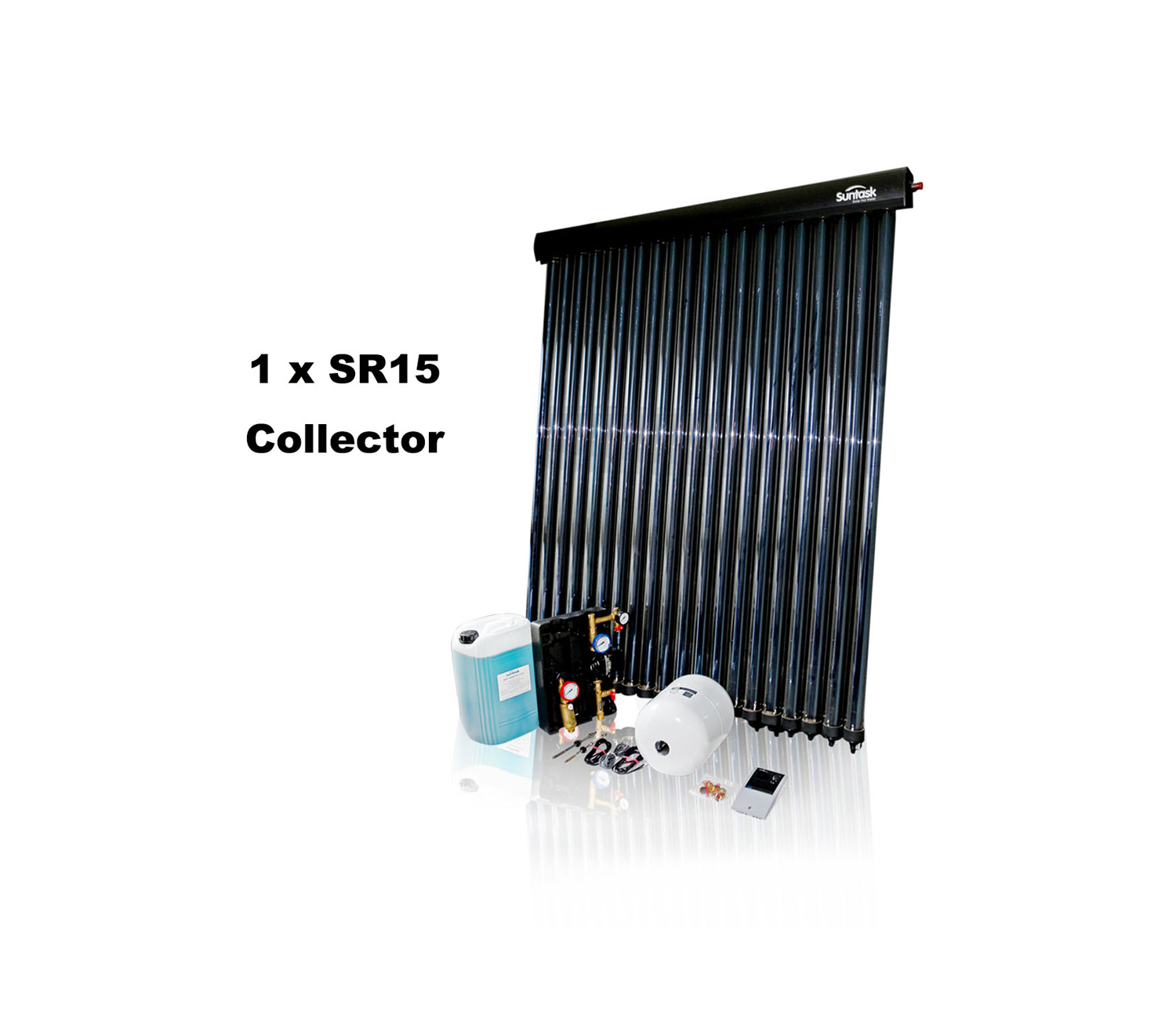 Suntask full Solar Thermal Kits excluding Cylinders 15 Tube System (1 x SR15 Collector)