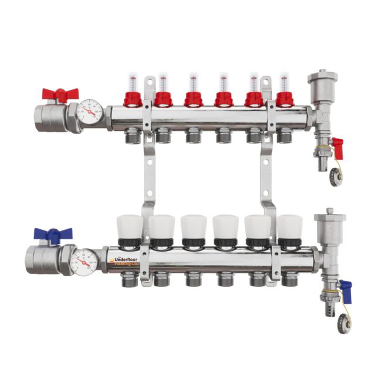 6 Port Brass Manifold With Pressure gauge and auto air vent