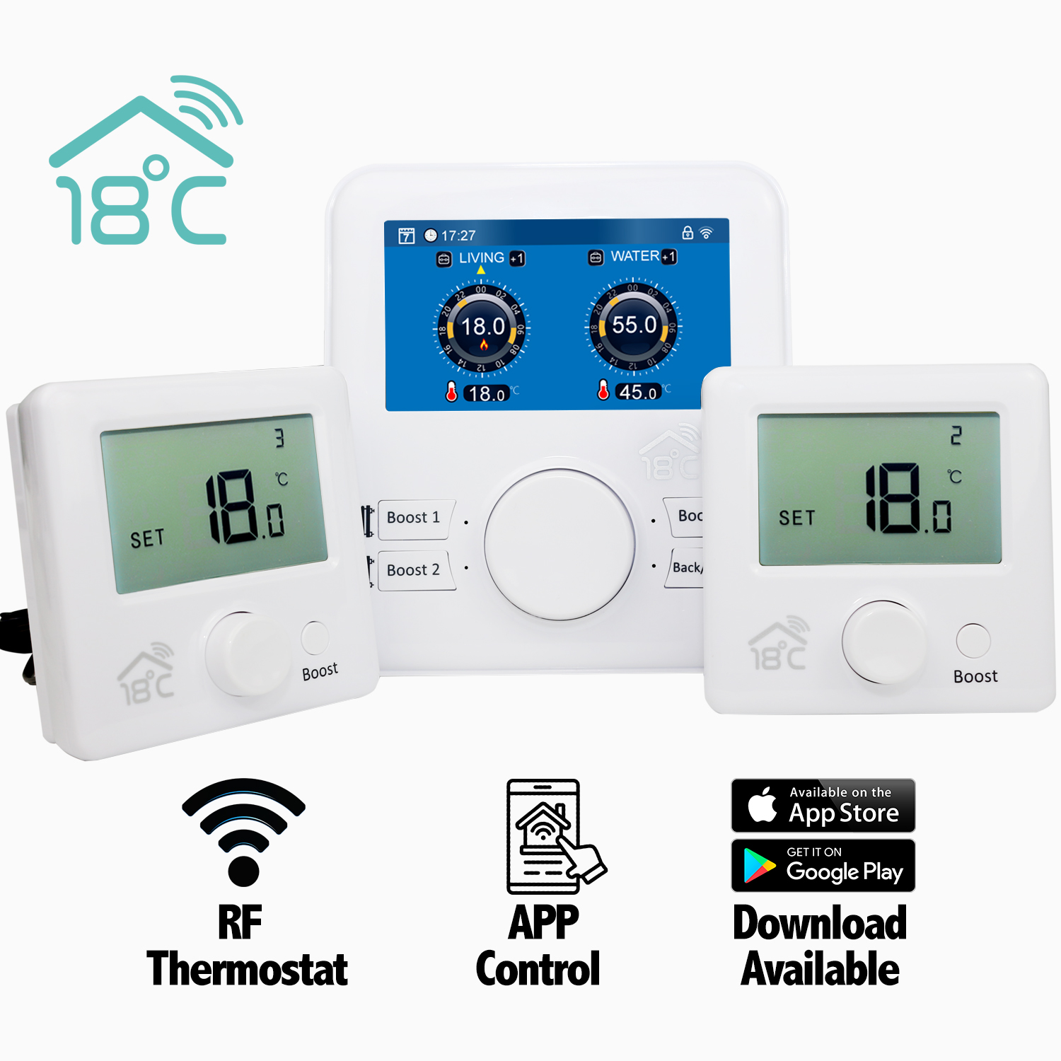 18 degrees Smart Heating Controls for Oil Boilers - WiFi Thermostat Ireland - thermostatic Controller 2 zone Suntask