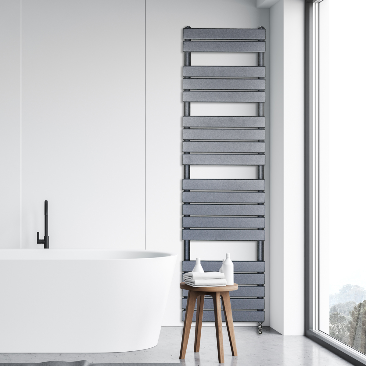 Adige Designer Towel Radiator Grey Large RAD-AF-FR01006G