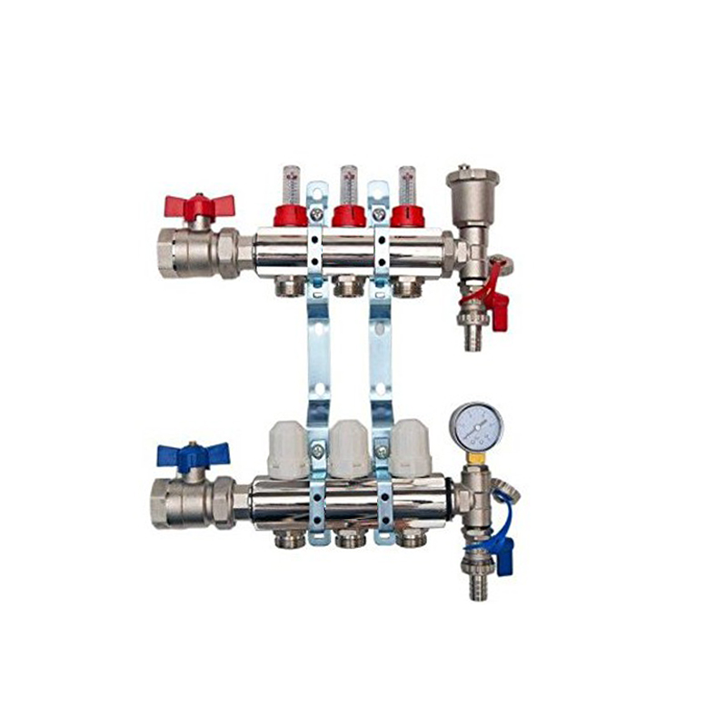3 Port Brass Manifold With Pressure gauge and auto air vent