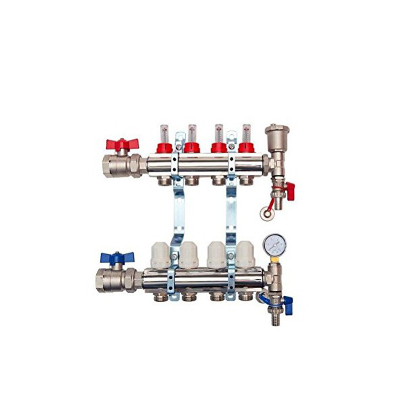 4 Port Brass Manifold With Pressure gauge and auto air vent